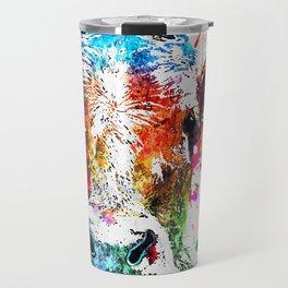 Cow Watercolor Grunge Travel Mug