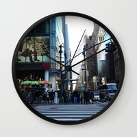 fifth element Wall Clocks featuring FIFTH AVE by Lindsay Carter