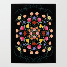 Folk Art Inspired Garden Of Fantastic Floral Delight Poster