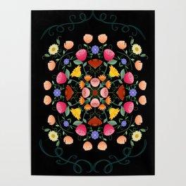 Folk Art Inspired Garden Of Fantastic Floral Delight Poster