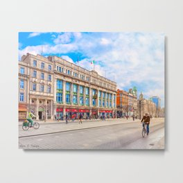 Brilliant Morning Sun On O'Connell Street In Dublin Ireland Metal Print