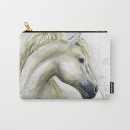 White Horse Watercolor Painting Animal Horses Carry-All Pouch