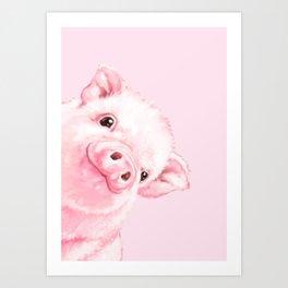 Sneaky Baby Pink Pig Art Print
