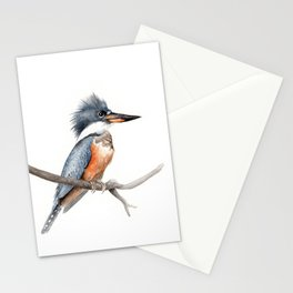 Kingfisher Bird Watercolor Illustration Stationery Cards