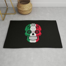Sugar Skull with Roses and Flag of Italy Rug