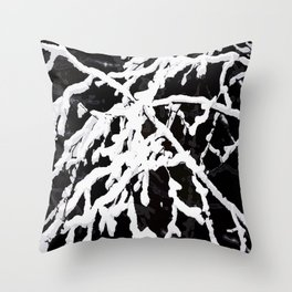 Snowy Branches On Black Background #decor #society6 #buyart Throw Pillow
