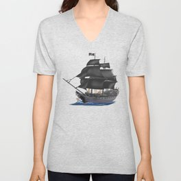 Pirate Ship at Sunset Unisex V-Neck