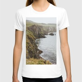 Moody Fog Coast Landscape Print, Ocean crashing on cliff edge & rocks from Ireland, UK   Modern & Calm Travel Photography, Wall Decor T-shirt