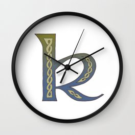 Celtic Knotwork Alphabet - Letter K Wall Clock