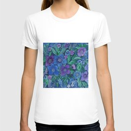 Watercolor . Blue flowers . T-shirt