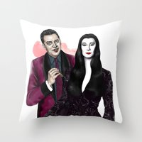 selena gomez Throw Pillows featuring Gomez & Morticia by Myrtle Quillamor