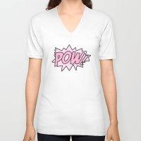 girl power V-neck T-shirts featuring Girl Power by Skrinkladado