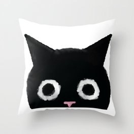 Spooked Kitty Black Creepy & Cute Cat Throw Pillow