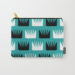 Mid Century Modern Abstract Flowers Teal Carry-All Pouch