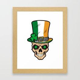 Irish Skull Irland Patriot Shamrock Framed Art Print