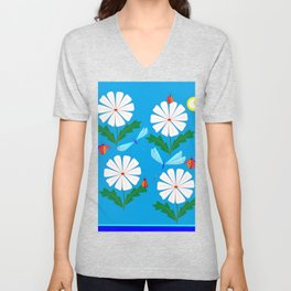 White Spring Daisies, Dragonflies, Lady Bugs and the Sun Unisex V-Neck