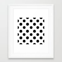 polka dots Framed Art Prints featuring Polka Dots (Black/White) by 10813 Apparel