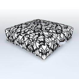 Flourish Damask Big Ptn White on Black Outdoor Floor Cushion