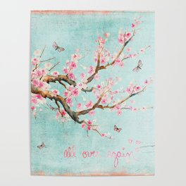Its All Over Again - Romantic Spring Cherry Blossom Butterfly Illustration on Teal Watercolor Poster