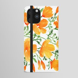 Watercolor California poppies iPhone Wallet Case