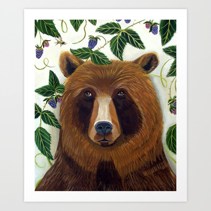Mr. Brown  bear and the raspberries  Art Print