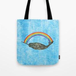 Narwhale Rainbow Blue Ocean Waves Tote Bag
