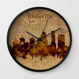louisville skyline vintage 4 Wall Clock
