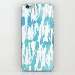 Turquoise and white watercolors messy strokes pattern iPhone Skin