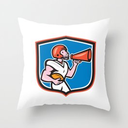American Football Quarterback Bullhorn Shield Cartoon Throw Pillow