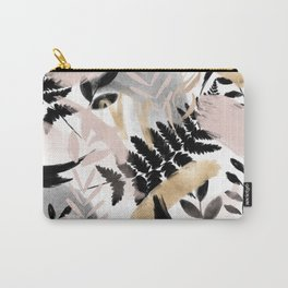 Pink black white faux rose gold brushstrokes floral Carry-All Pouch