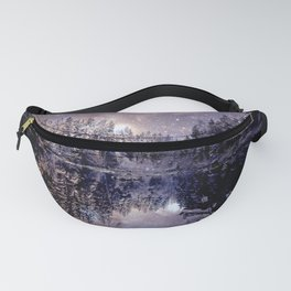 A Cold Winter's Night Neutral Beige Navy Blue Fanny Pack