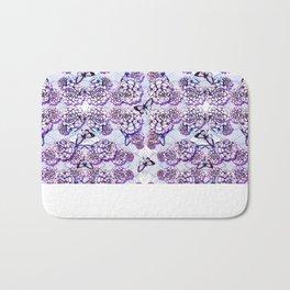 Succulent Motif and Butterfly # Purple Bath Mat