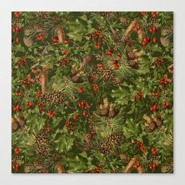 Traditional Holly Christmas Pattern Canvas Print