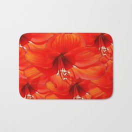 Blooming Red Patterned Amaryllis Flowers Abstract Bath Mat