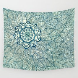 Emerald Green, Navy & Cream Floral & Leaf doodle Wall Tapestry