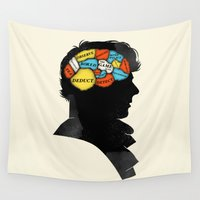 benedict cumberbatch Wall Tapestries featuring Sherlock Phrenology by Wharton