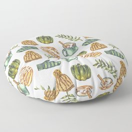 Watercolor Winter Objects Floor Pillow