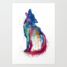 Howling Wolf Watercolor Silhouette Art Print