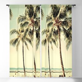 Retro Vintage Palm Tree with Hawaii Summer Sea Beach Blackout Curtain