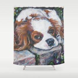 Beautiful Blenheim Cavalier King Charles Spaniel Dog Art Painting by LA.Shepard Shower Curtain