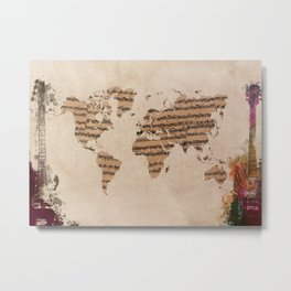 music world map Metal Print