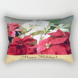 Mixed color Poinsettias 3 Happy Holidays S2F1 Rectangular Pillow