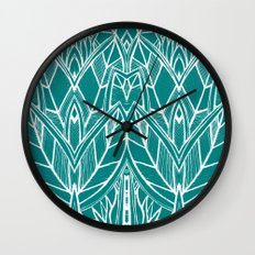 Turquoise Modern Leaves - blue white Wall Clock
