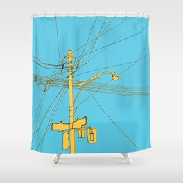 Cables and wires over Queen and Bathurst Shower Curtain