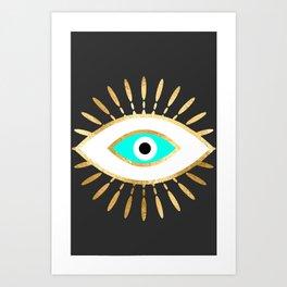 evil eye gold foil print Kunstdrucke