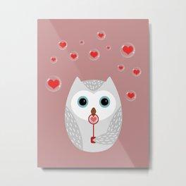OWL, LOVE & BUBBLES (valentine animals heart) Metal Print