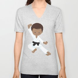 African American Boy, Black Belt, Karate Pose Unisex V-Neck