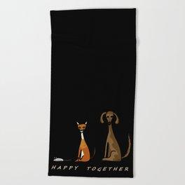 Happy Together - Black Beach Towel