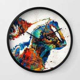 Colorful Skunk Art - Dee Stinktive - By Sharon Cummings Wall Clock