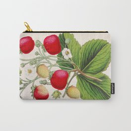 Strawberry Delights Vintage Botanical Floral Flower Plant Scientific Illustration Carry-All Pouch